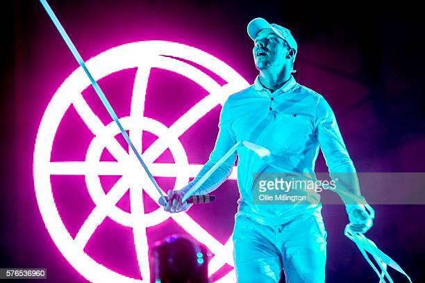 Diplo of Major Lazer perfoms during the Major Lazer headline show at the end of Day 1 of Lovebox Festival at Victoria Park on July 15 2016 in London...