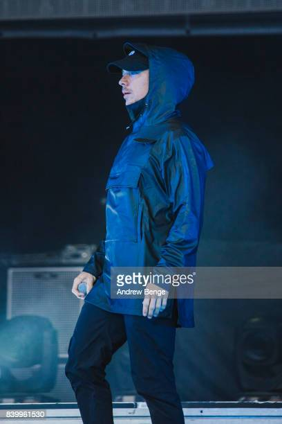 Diplo of Major Lazer performs on the main stage during day 3 at Leeds Festival at Bramhall Park on August 27 2017 in Leeds England