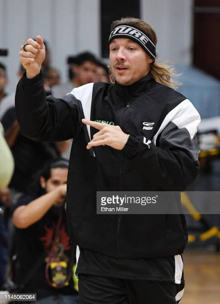Diplo of Team La Familia is introduced at Roc Nation's Roc da Court allstar basketball game benefiting the Boys Girls Clubs of Southern Nevada at...