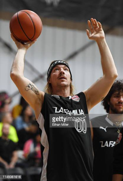 Diplo of Team La Familia warms up before Roc Nation's Roc da Court allstar basketball game benefiting the Boys Girls Clubs of Southern Nevada at...