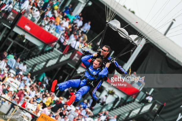 Diplo parachutes into the 144th Preakness Stakes at Pimlico Race Track on May 18 2019 in Baltimore Maryland