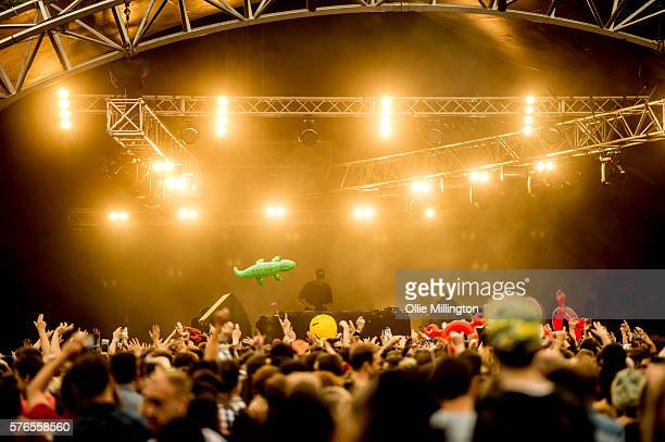 Diplo perfoms onstage for Noisy on Day 1 of Lovebox Festival at Victoria Park on July 15 2016 in London England