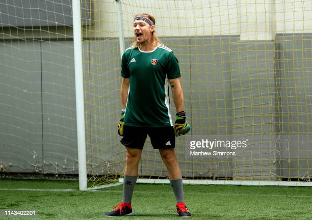 Diplo tends goal for his team during the Copa Del Rave Charity Soccer Tournament at Evolve Project LA on April 17 2019 in Los Angeles California