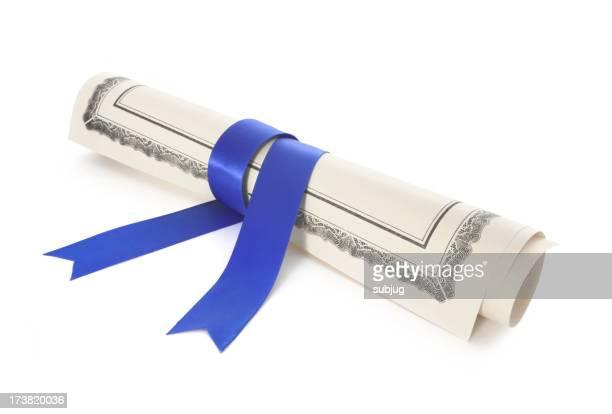 Diplom mit blauem Band