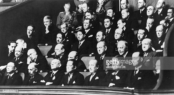 Diplomates in the Krolloper listening to Hitlers speech after the expedition against Poland: - First row from the left: ambassadors Chen Chieh ,...