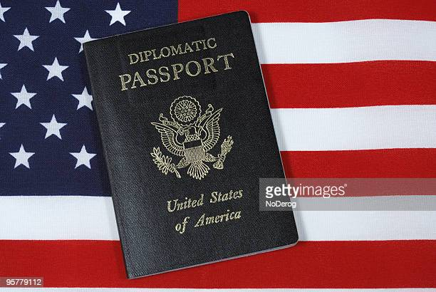 Diplomatic Passport on American flag