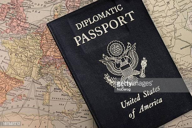 Diplomatic Passport on map of Europe