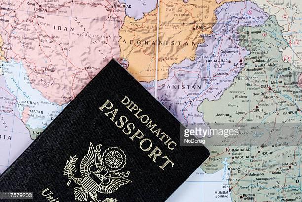 Diplomatic Passport on map