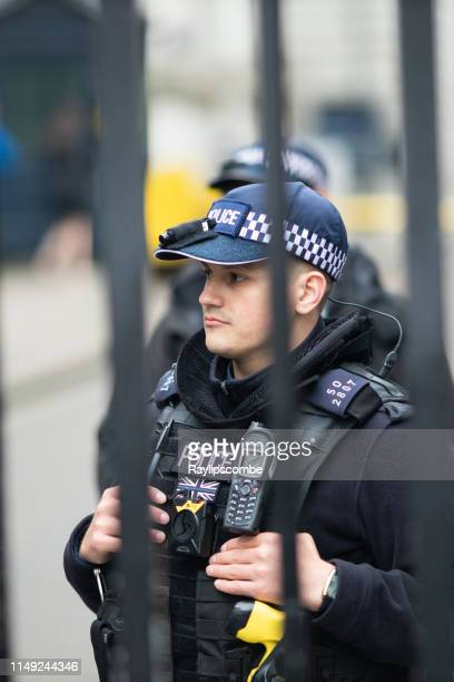 diplomatic policeman behind the protective gates at downing st, westminster, london. - ambassador stock pictures, royalty-free photos & images