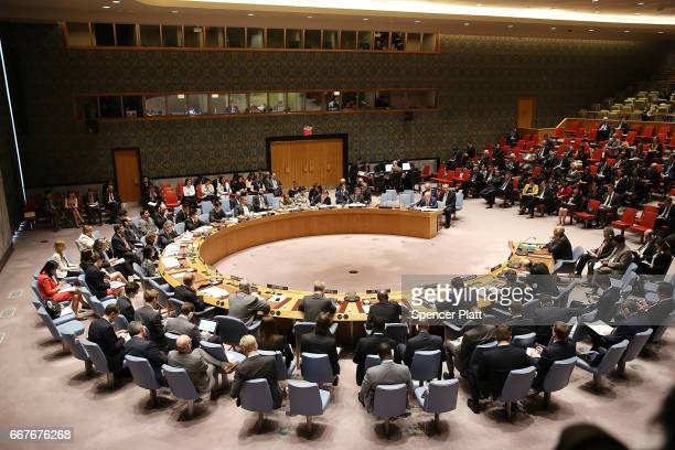 Diplomats meet at a United Nation Security Council meeting on the situation in the Middle East where the ongoing conflict in Syria was discussed on...