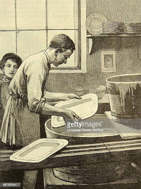 Dipping a dish in glaze Minton Company's factory StokeonTrent Staffordshire England Engraving London 1885