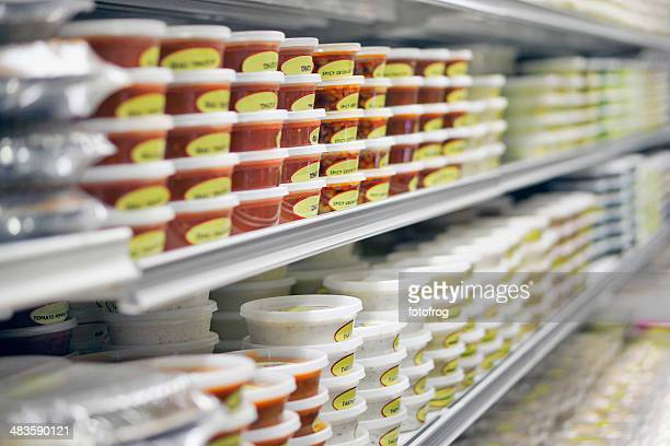 Dips in store refrigerator