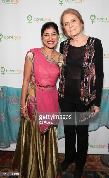 Dipti Mehta and Gloria Steinem attend the APNE Aap dinner on September 21 2017 in New York City