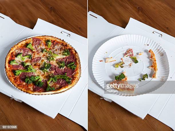 A diptych of a whole pizza and an eaten pizza