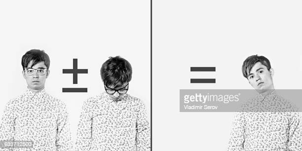 Diptych of Caucasian man with math equation