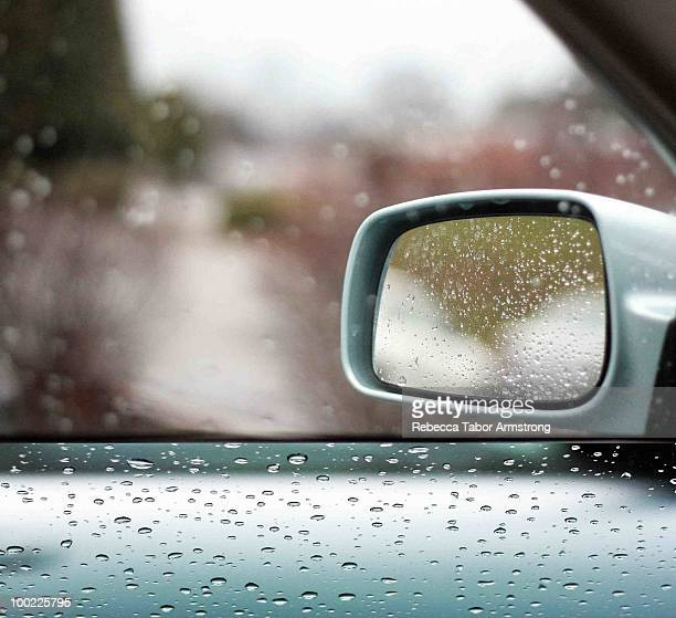 Diptych of sideview mirror on rainy afternoon.