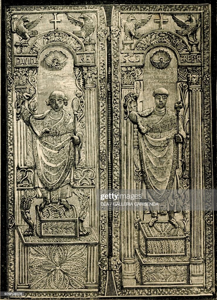 diptych of st gregory and king david monza lombardy italy
