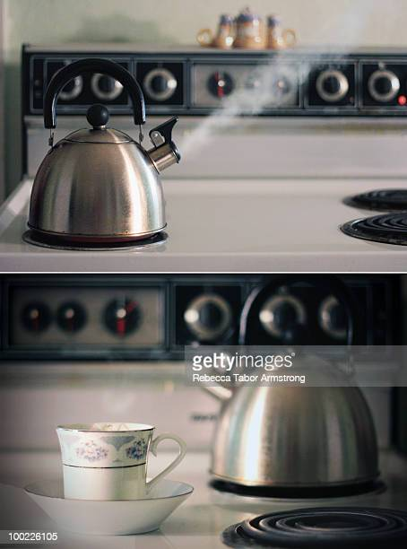 Diptych of tea kettle and steam.