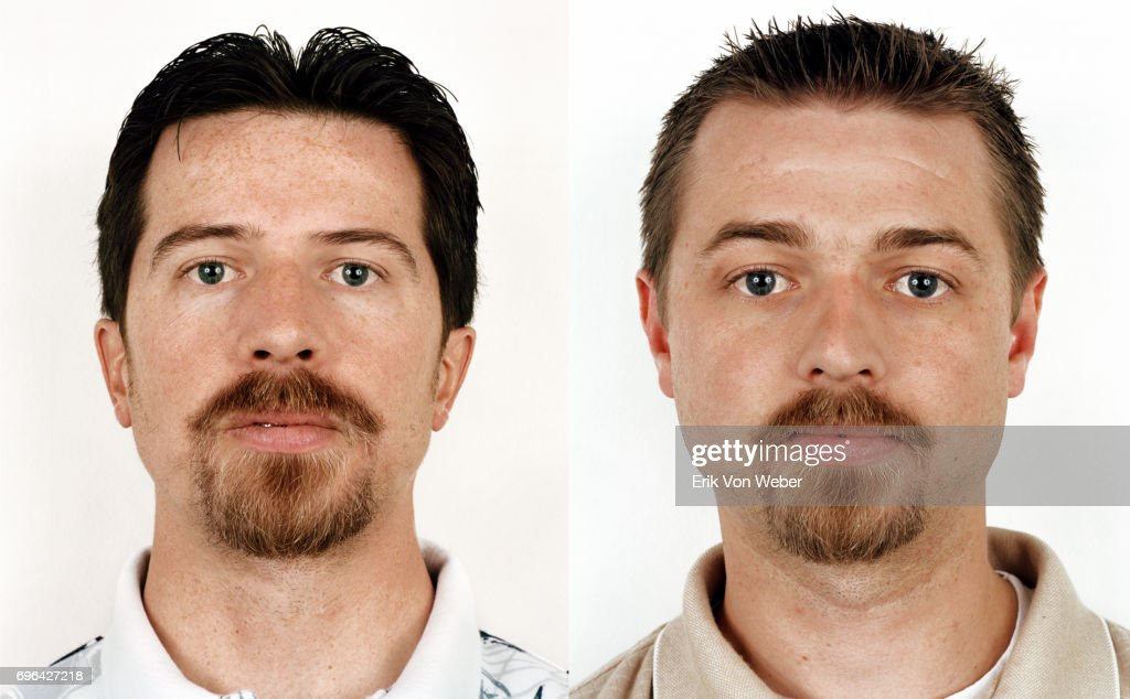 diptych of twins on white background : Stock Photo