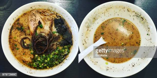 Diptych photographs of ramen noodles before and after being eaten.
