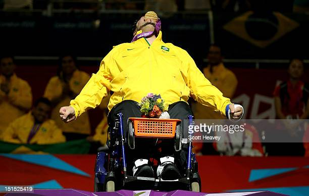 Dirceu Jose Pinto of Brazil celebrates his victory in the Individual BC4 Boccia Gold Medal Match against Yuansen Zheng of China on day 10 of the...