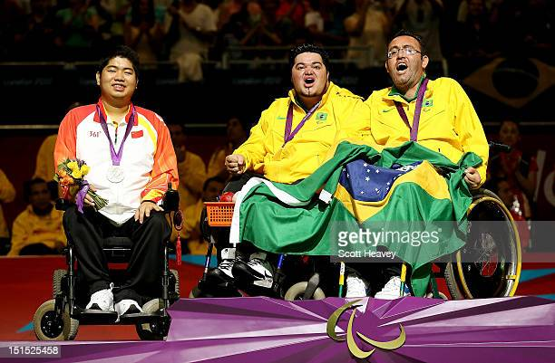 Dirceu Jose Pinto of Brazil celebrates his victory in the Individual BC4 Boccia Gold Medal Match with Eliseu do Santos and Yuansen Zheng of China on...