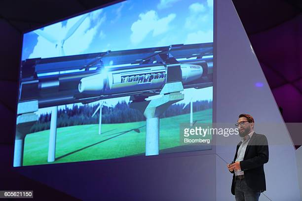 Dirck Schart head of public relations and marketing at Re'flekt GmbH speaks during a Hyperloop transportation system augmented reality window...