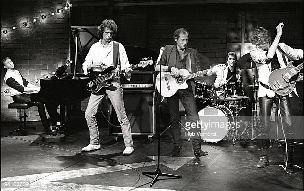 Dire straits perform live on stage at Top Pop TV studios Hilversum Holland on October 14 LR Alan Clark John Illsley Mark Knopfler Terry Williams Hal...