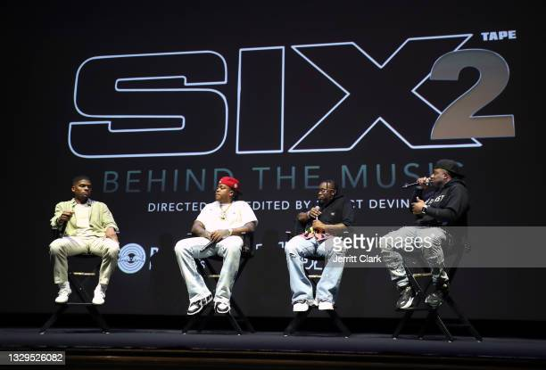 Direct Devin, Bino Rideaux, Blxst and DJ Hed onstage at the Blxst & Bino Rideaux 'Sixtape 2' release event at The Theatre at Ace Hotel on July 15,...