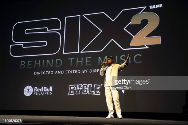 Direct Devin speaks onstage at the Blxst & Bino Rideaux 'Sixtape 2' release event at The Theatre at Ace Hotel on July 15, 2021 in Los Angeles,...