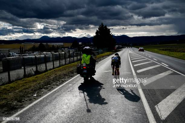 Direct Energie French rider Fabien Grellier rides during his breakaway in the third stage of the Paris Nice cycling race between Bourges and...