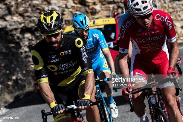 Direct Energie team French rider Jerome Cousin rides in a breakaway during the fifth stage of the Paris Nice cycling race between Salon de Provence...