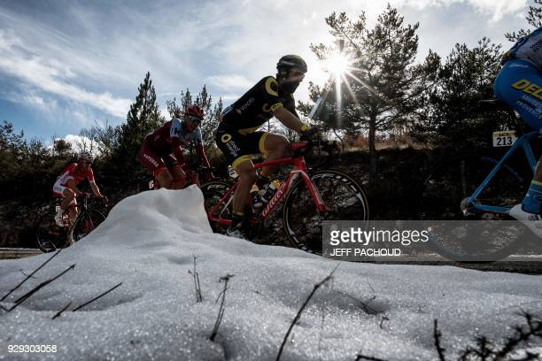 TOPSHOT Direct Energie team French rider Jerome Cousin rides in a breakaway during the fifth stage of the Paris Nice cycling race between Salon de...