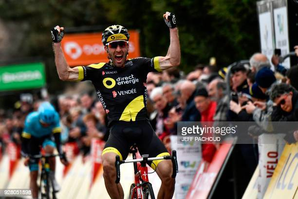 TOPSHOT Direct Energie team French rider Jonathan Hivert celebrates as he crosses the finish line to win the third stage of the Paris Nice cycling...