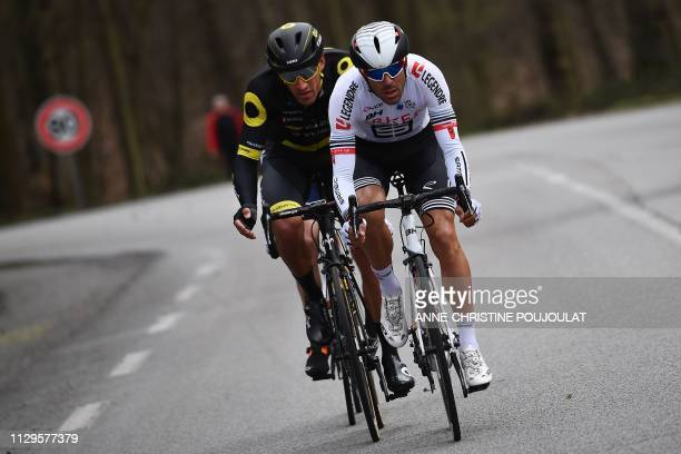 Direct Energie's French cyclist Damien Gaudin and Team Arkea Samsic's French cyclist Amael Moinard ride in a breakaway during the 1385km 1st stage of...
