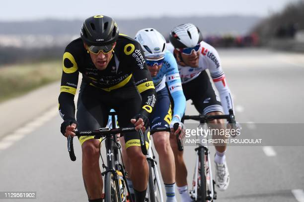 Direct Energie's French cyclist Damien Gaudin Delko Marseille Provence's French cyclist Romain Combaud and Team Arkea Samsic's French cyclist Amael...