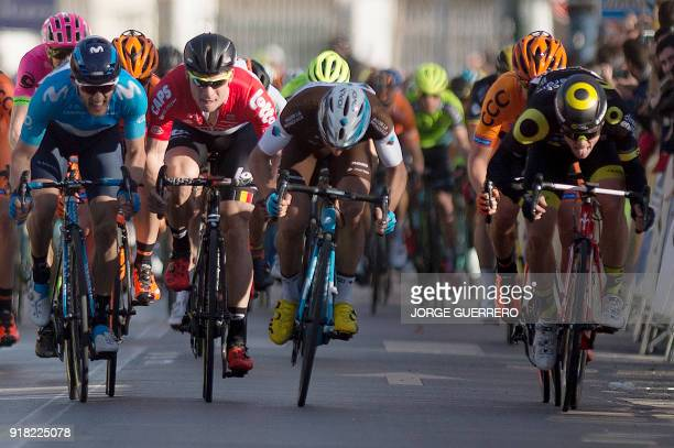 Direct Energie's French cyclist Thomas Boudat crosses the finish line winning the first stage of the Ruta del Sol tour a 1976 km ride from Mijas to...