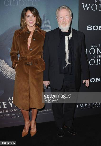 Direct Ridley Scott and Giannina Facio attend the Los Angeles Premiere All The Money In The World at Samuel Goldwyn Theater on December 18 2017 in...