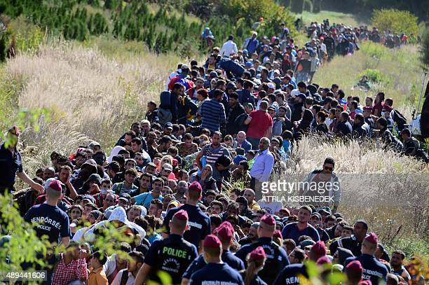 Directed by Hungarian police officers migrants make their way through the countryside after they crossed the HungarianCroatian border near the...