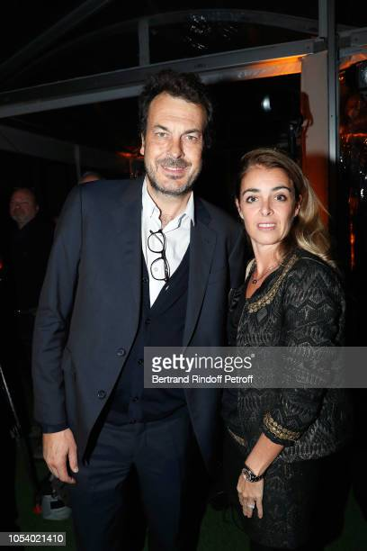 Directeur des Sports of France Television LaurentEric Le Lay and his wife Justine Le Lay attend the draw of the Rolex Paris Masters players' table...