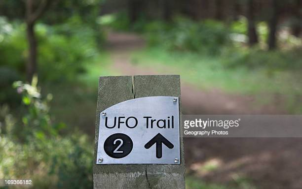 Direction pointer to footpath trail to site of UFO landing near former USAF base at Rendlesham forest Woodbridge Suffolk England