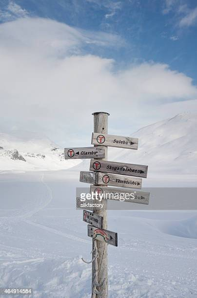 Direction sign in Jotunheimen mountains in winter