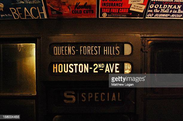 """Direction sign on a vintage """"nostalgia"""" train that runs every December through New York City"""