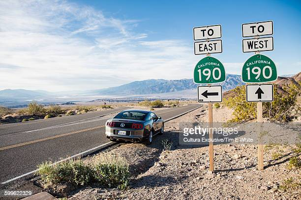 Direction signs, Death Valley, California, USA