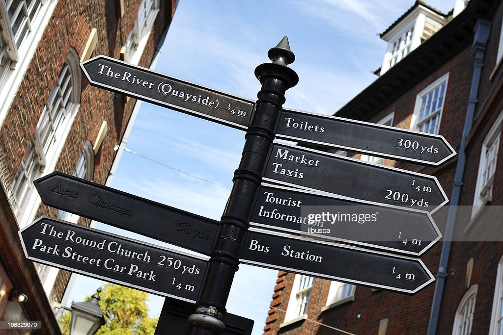 Direction signs in Cambridge : Stock Photo