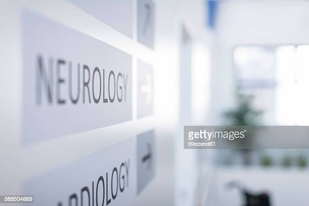 Direction signs on hospital wall