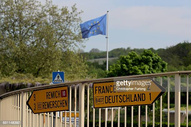 Direction signs point to Germany and France in the town of Schengen where the 1985 European Schengen Agreement was signed on May 11 2016 in Schengen...