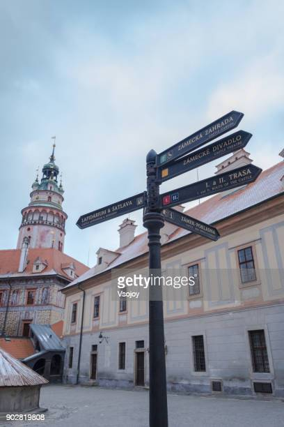 direction, the way to český krumlov castle, czech republic - vsojoy stock pictures, royalty-free photos & images