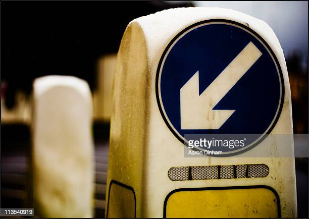 directional arrow - traffic cone stock pictures, royalty-free photos & images