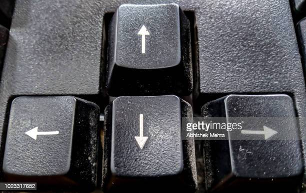 directional arrows in buttons - computer key stock pictures, royalty-free photos & images